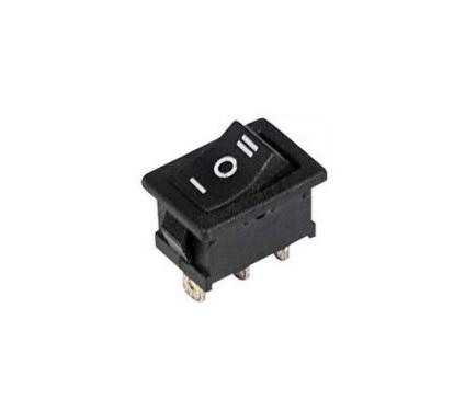 Выключатель клавишный 250V 6А (3с) ON-OFF-ON черный с нейтралью Mini