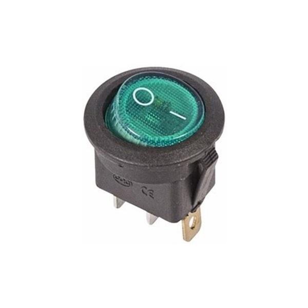 Выключатель клавишный круглый 250V 6А (3с) ON-OFF зеленый с подсветкой