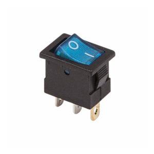 Выключатель клавишный 250V 6А (3с) ON-OFF синий с подсветкой Mini