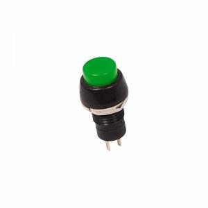Выключатель-кнопка 250V 1А (2с) (ON)-OFF Б/Фикс зеленая