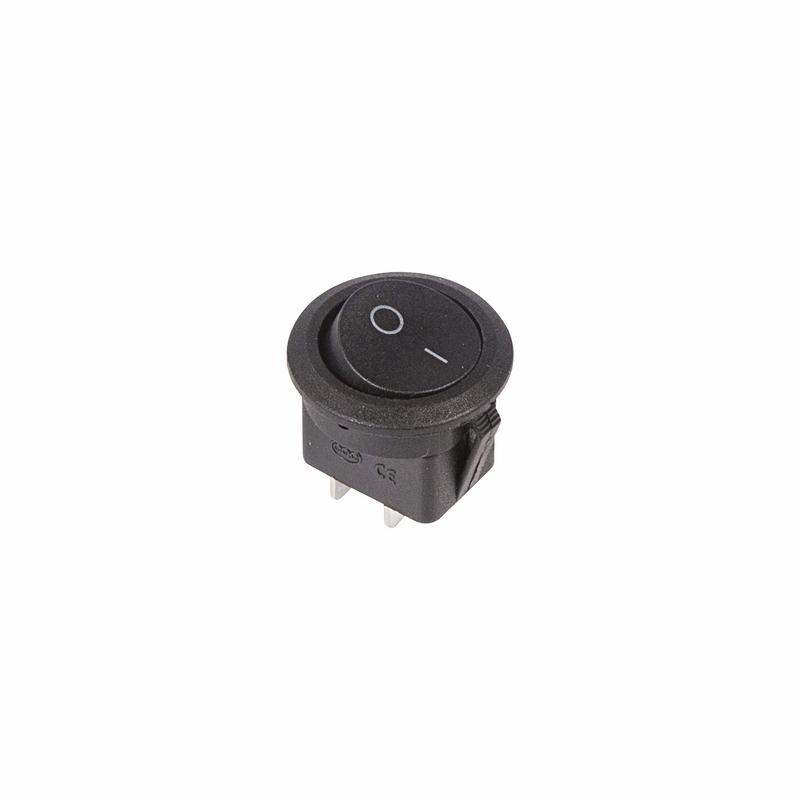 Выключатель клавишный круглый 250V 6А (2с) ON-OFF черный Micro