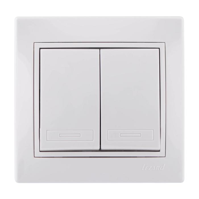 Выключатель 2-ой MIRA белый с белыми вставками