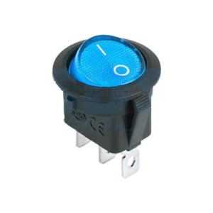 Выключатель клавишный круглый 12V 20А (3с) ON-OFF синий с подсветкой