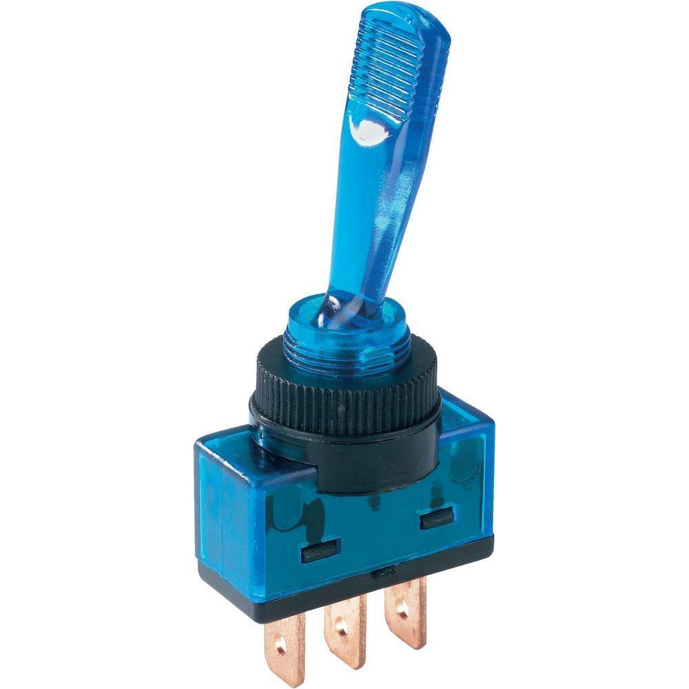 Тумблер 12V 20А (3с) ON-OFF однополюсный с синей подсветкой