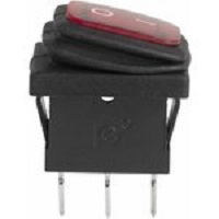 Выключатель клавишный 250V 6А (3с) ON-OFF красный с подсветкой Mini ВЛАГОЗАЩИТА