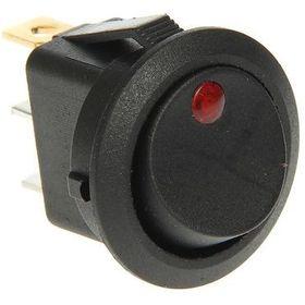 Выключатель клавишный круглый 12V 16А (3с) ON-OFF черный с красной LED подсветкой