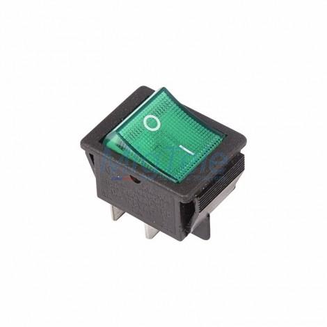 Выключатель клавишный 250V 16А (4с) ON-OFF зеленый с подсветкой