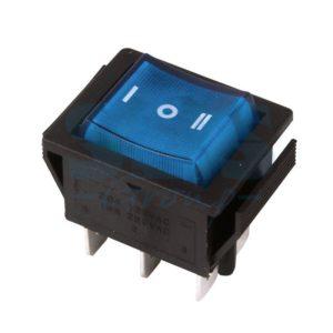 Выключатель клавишный 250V 15А (6с) ON-OFF-ON синий с подсветкой и нейтралью