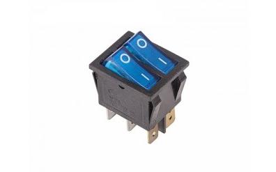 Выключатель клавишный 250V 15А (6с) ON-OFF синий с подсветкой ДВОЙНОЙ