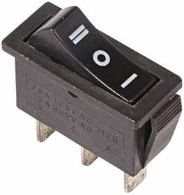 Выключатель клавишный 250V 10А (3с) ON-OFF-ON черный с нейтралью