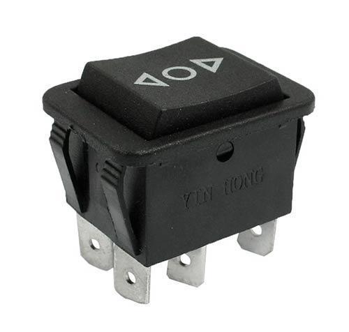 Выключатель клавишный 250V 15А (6с) (ON)-OFF-(ON) черный с нейтралью Б/Фикс