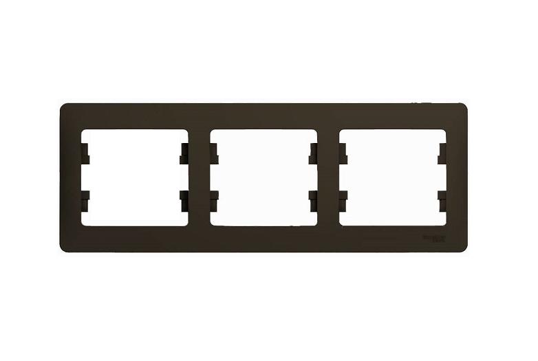 Рамка GSL000803 3-постовая горизонтальная (шоколад) Серия GLOSSA, Schneider
