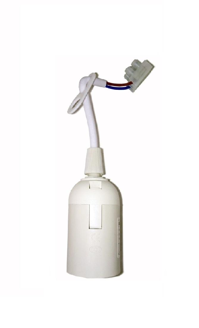 Патрон подвесной с шнуром, пластик, Е27, белый, стикер на изделии, IEK